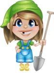 Little Farm Girl Cartoon Vector Character AKA Harper the Farm Helper - Holding Shovel