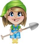 Little Farm Girl Cartoon Vector Character AKA Harper the Farm Helper - Working with Shovel
