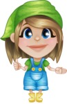 Little Farm Girl Cartoon Vector Character AKA Harper the Farm Helper - Showing with a Smile