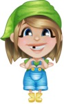 Little Farm Girl Cartoon Vector Character AKA Harper the Farm Helper - Feeling Inloved with Hands Making Heart