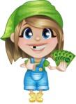 Little Farm Girl Cartoon Vector Character AKA Harper the Farm Helper - Holding Cash Money Banknotes