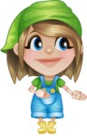 Little Farm Girl Cartoon Vector Character AKA Harper the Farm Helper - Showing and Looking at the Same Direction