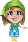 Little Farm Girl Cartoon Vector Character AKA Harper the Farm Helper - Showing with a Hand