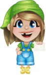 Little Farm Girl Cartoon Vector Character AKA Harper the Farm Helper - With Blank Business Card