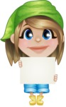 Little Farm Girl Cartoon Vector Character AKA Harper the Farm Helper - Holding Blank Presentation Sign