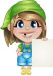 Little Farm Girl Cartoon Vector Character AKA Harper the Farm Helper - With Blank Sign