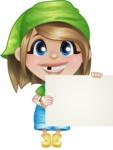 Little Farm Girl Cartoon Vector Character AKA Harper the Farm Helper - Holding Big Blank Sign and Smiling
