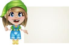 Little Farm Girl Cartoon Vector Character AKA Harper the Farm Helper - With Blank Presentation Sign