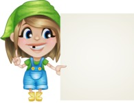 Little Farm Girl Cartoon Vector Character AKA Harper the Farm Helper - With Blank Farm Sign