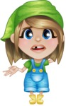 Little Farm Girl Cartoon Vector Character AKA Harper the Farm Helper - Feeling Sorry