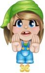 Little Farm Girl Cartoon Vector Character AKA Harper the Farm Helper - Making stop gesture