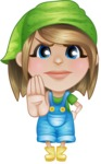 Little Farm Girl Cartoon Vector Character AKA Harper the Farm Helper - Making stop with a hand