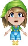 Little Farm Girl Cartoon Vector Character AKA Harper the Farm Helper - With Stunned Face