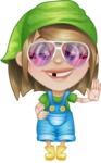 Little Farm Girl Cartoon Vector Character AKA Harper the Farm Helper - Waving with Smile and Glasses