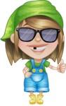Little Farm Girl Cartoon Vector Character AKA Harper the Farm Helper - Being Cool with Sunglasses