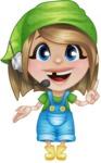 Little Farm Girl Cartoon Vector Character AKA Harper the Farm Helper - Support Service with Headphones