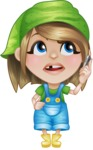 Little Farm Girl Cartoon Vector Character AKA Harper the Farm Helper - Talking on Phone