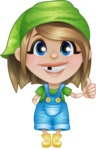 Little Farm Girl Cartoon Vector Character AKA Harper the Farm Helper - Giving Thumbs Up