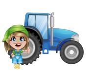 Little Farm Girl Cartoon Vector Character AKA Harper the Farm Helper - With Agrimotor