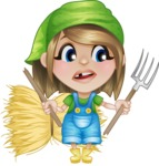 Little Farm Girl Cartoon Vector Character AKA Harper the Farm Helper - With Broken Pick Fork