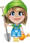 Little Farm Girl Cartoon Vector Character AKA Harper the Farm Helper - Watering