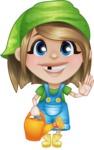 Little Farm Girl Cartoon Vector Character AKA Harper the Farm Helper - Watering Can