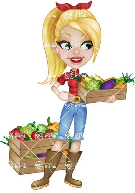 Pretty Farmer Girl Cartoon Vector Character - 112 ...
