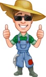 Funny Farm Man Vector Cartoon Character AKA Connor as Mr. Handsome - Being Cool with Sunglasses