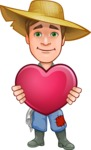 Funny Farm Man Vector Cartoon Character AKA Connor as Mr. Handsome - Being Romantic and Holding Heart