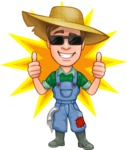 Funny Farm Man Vector Cartoon Character AKA Connor as Mr. Handsome - Best Farmer Star Illustration