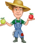 Funny Farm Man Vector Cartoon Character AKA Connor as Mr. Handsome - Choosing between Red and Green Apple