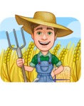 Funny Farm Man Vector Cartoon Character AKA Connor as Mr. Handsome - Farming Illustration with Agro Background