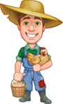 Funny Farm Man Vector Cartoon Character AKA Connor as Mr. Handsome - Farming with Chicken and Smiling