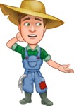 Funny Farm Man Vector Cartoon Character AKA Connor as Mr. Handsome - Feeling Confused and Lost