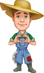 Funny Farm Man Vector Cartoon Character AKA Connor as Mr. Handsome - Feeling Inloved with Hands Making Heart