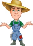 Funny Farm Man Vector Cartoon Character AKA Connor as Mr. Handsome - Feeling Lost with Sad Face