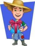 Funny Farm Man Vector Cartoon Character AKA Connor as Mr. Handsome - Giving Gift Illustration with Flat Background