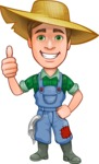 Funny Farm Man Vector Cartoon Character AKA Connor as Mr. Handsome - Giving Thumbs Up