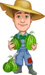Funny Farm Man Vector Cartoon Character AKA Connor as Mr. Handsome - Holding 2 Watermelons on Shoulders