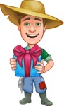 Funny Farm Man Vector Cartoon Character AKA Connor as Mr. Handsome - Holding a Gift