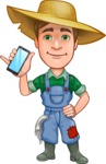 Funny Farm Man Vector Cartoon Character AKA Connor as Mr. Handsome - Holding a Mobile Phone
