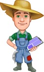 Funny Farm Man Vector Cartoon Character AKA Connor as Mr. Handsome - Holding a Notepad and Smiling