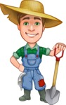 Funny Farm Man Vector Cartoon Character AKA Connor as Mr. Handsome - Holding a Shovel
