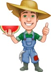 Funny Farm Man Vector Cartoon Character AKA Connor as Mr. Handsome - Holding a Slice of Watermelon