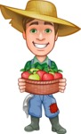 Funny Farm Man Vector Cartoon Character AKA Connor as Mr. Handsome - Holding Basket with Apples