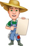 Funny Farm Man Vector Cartoon Character AKA Connor as Mr. Handsome - Holding Big Blank Sign and Smiling