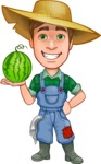 Funny Farm Man Vector Cartoon Character AKA Connor as Mr. Handsome - Holding Big Watermelon with One Hand