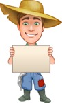 Funny Farm Man Vector Cartoon Character AKA Connor as Mr. Handsome - Holding Blank Presentation Sign