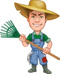 Funny Farm Man Vector Cartoon Character AKA Connor as Mr. Handsome - Holding Rake