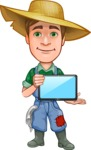 Funny Farm Man Vector Cartoon Character AKA Connor as Mr. Handsome - Holding Tablet with Blank Screen